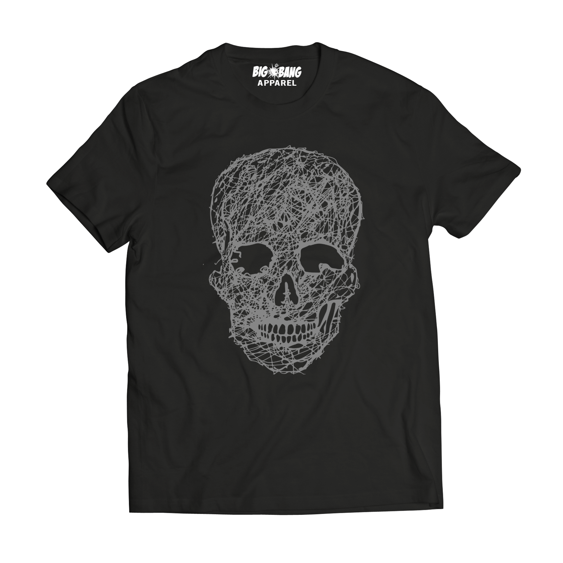 Big bang apparel skull lines t shirt big bang screen for Screen print on t shirts