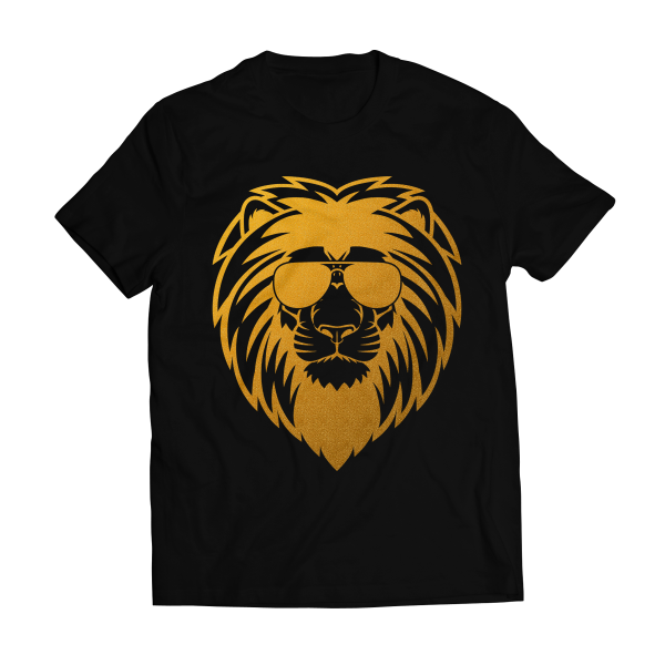 Big bang apparel lion s face gold foil t shirt big bang for Best online tee shirt printing
