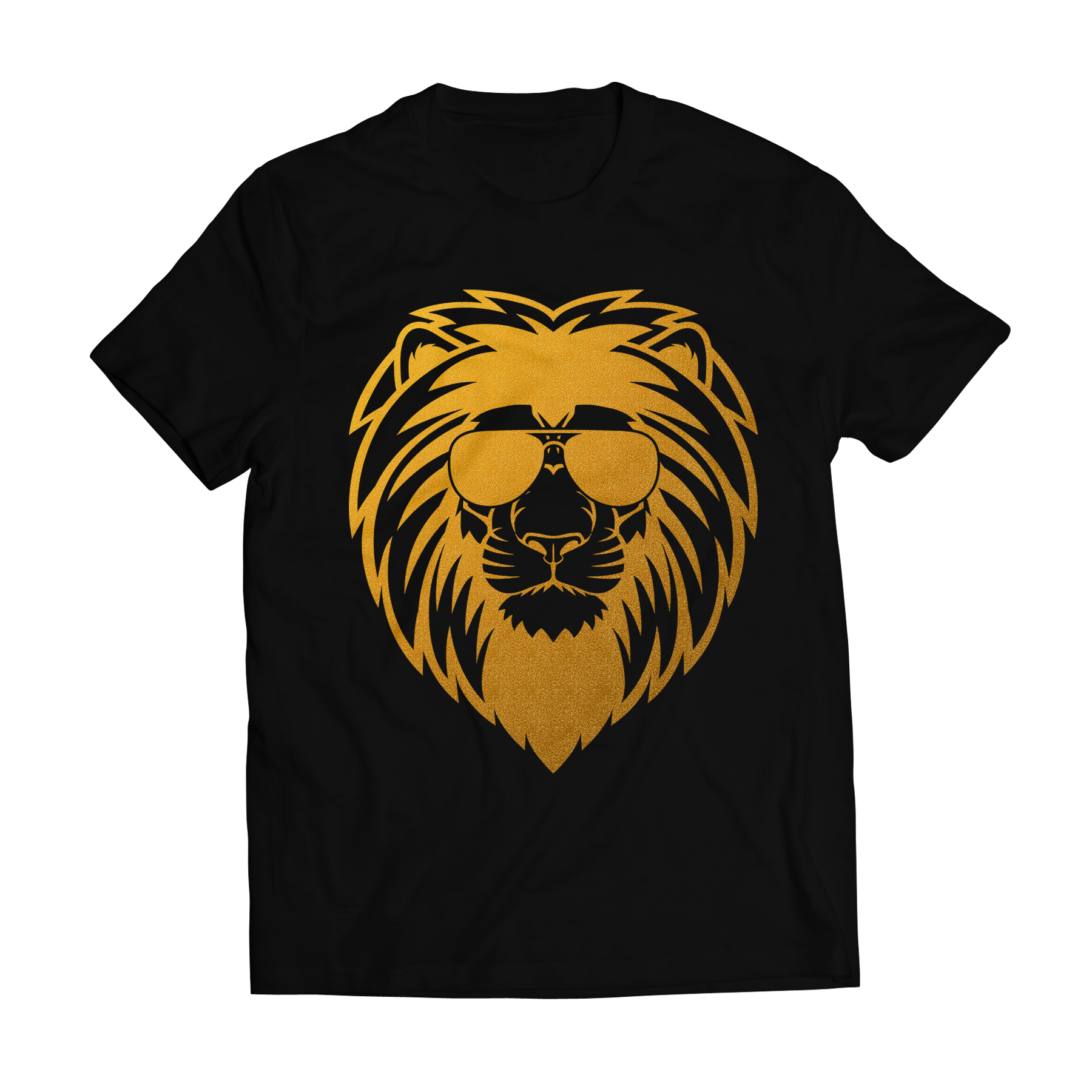Big bang apparel lion s face gold foil t shirt big bang for T shirt designing and printing