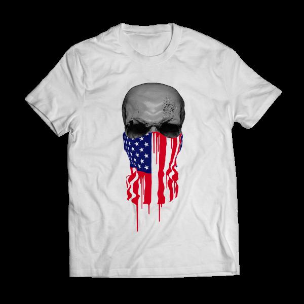 Big bang apparel american flag bandana skull t shirt big for Screen print t shirts at home