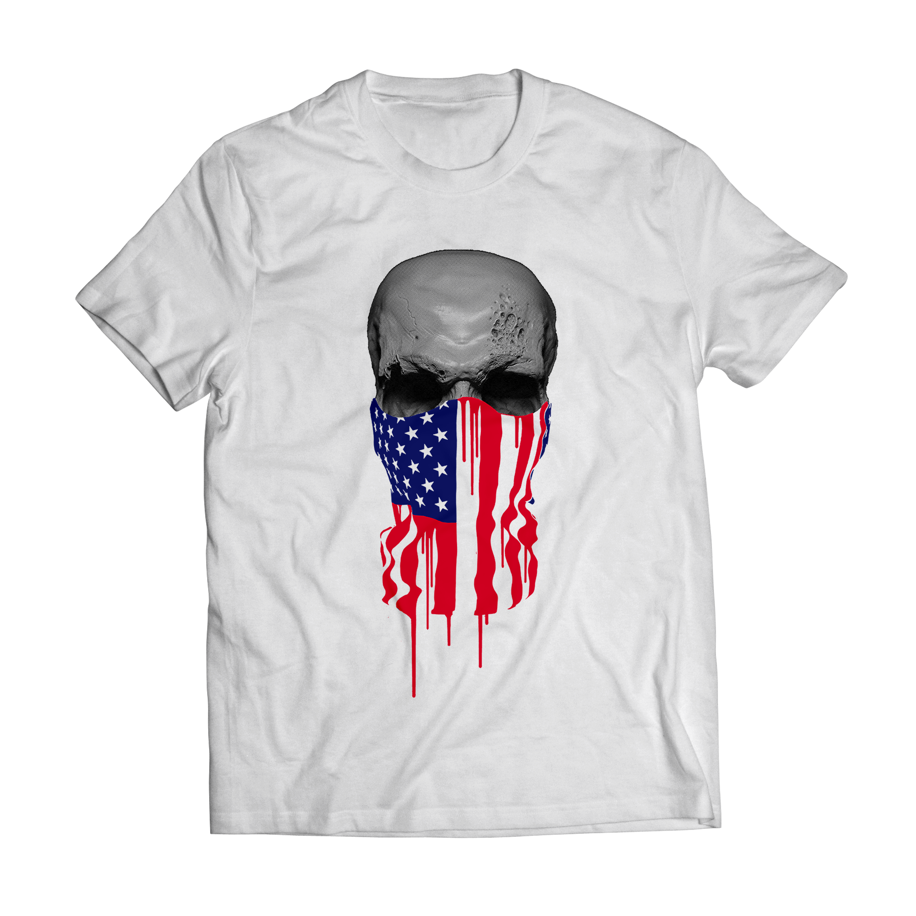 Big bang apparel american flag bandana skull t shirt big for T shirts printing online